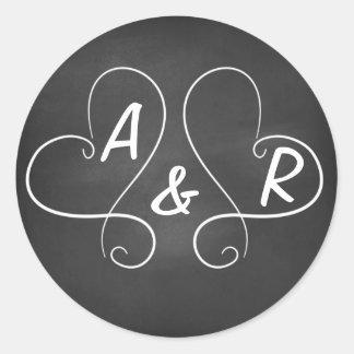 Chalkboard Hearts Classic Round Sticker