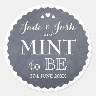 Chalkboard Hearts Wedding Mint Favor Round Classic Round Sticker