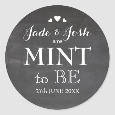 Valentines Themed Chalkboard Hearts Wedding Mint Favor Sticker