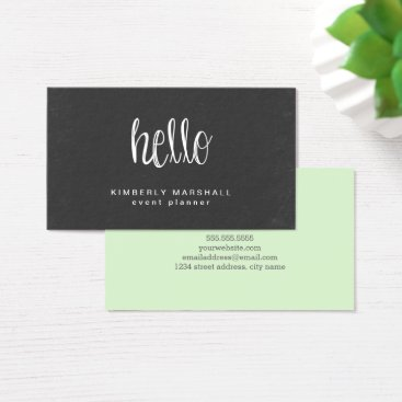Professional Business Chalkboard Hello Business Cards / Mint