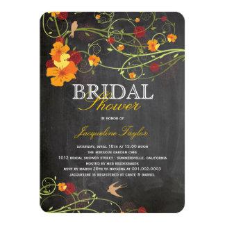Chalkboard Hibiscus Floral Birds Bridal Shower 4.5x6.25 Paper Invitation Card