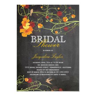 Chalkboard Hibiscus Floral Birds Bridal Shower Custom Announcement