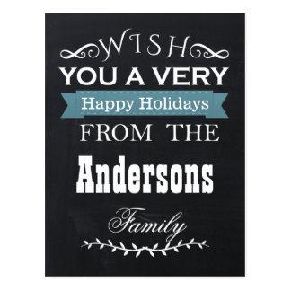 chalkboard Holiday cards Postcard