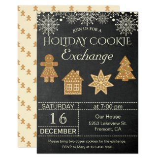 Chalkboard Holiday Cookie Exchange Party Invite
