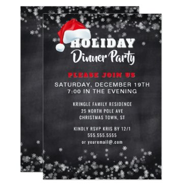 Professional Business Chalkboard Holiday Dinner Party Invitation