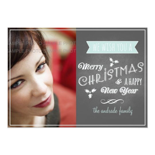 Chalkboard Holiday Flat Card Blue Christmas Scroll