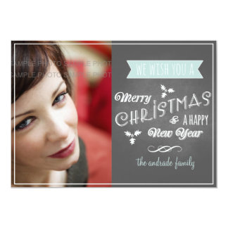Chalkboard Holiday Flat Card Blue Christmas Scroll Custom Announcements