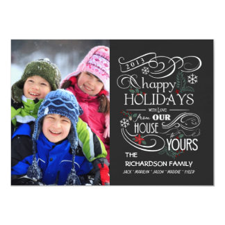 Chalkboard Holiday Flat Photo Cards