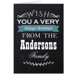 chalkboard Holiday greetings Greeting Cards