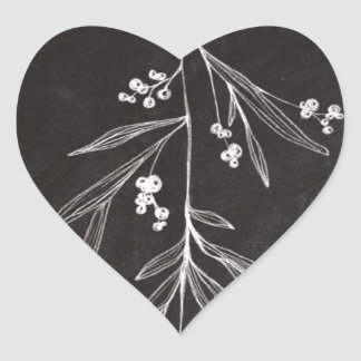 Chalkboard Holiday Mistletoe - Christmas Heart Sticker