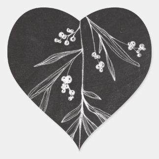 Chalkboard Holiday Mistletoe - Christmas Heart Sticker