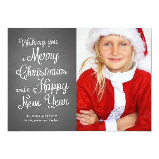 Chalkboard Holiday Photo Christmas Wishes Coral 5x7 Paper Invitation Card