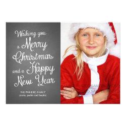Chalkboard Holiday Photo Christmas Wishes Coral Custom Invitations