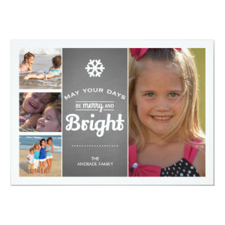 Chalkboard Holiday Photo Merry Bright Christmas 5x7 Paper Invitation Card