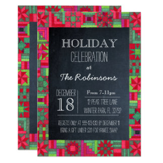 Chalkboard Holiday Quilt Party Invitation
