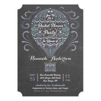 Chalkboard Hot Air Balloon Bridal Shower Invite