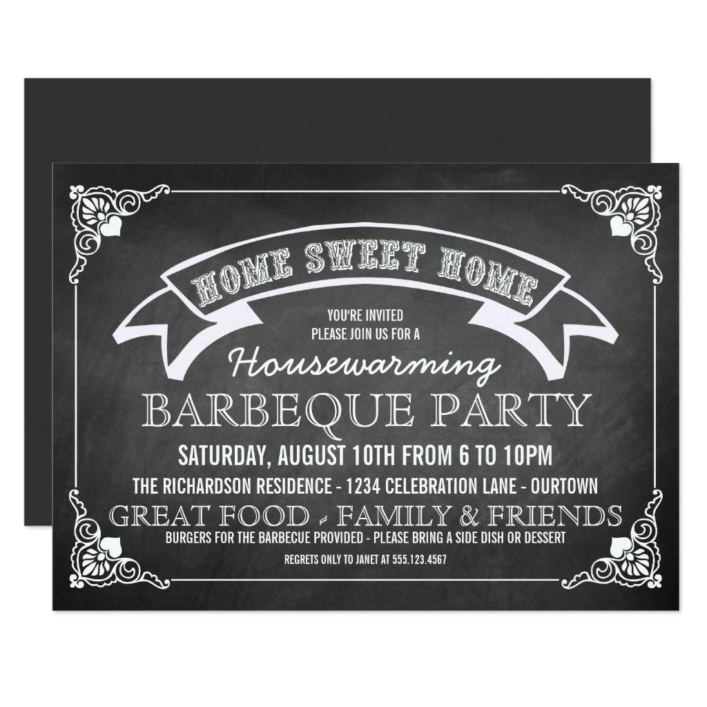 Chalkboard Housewarming BBQ Party Invitation