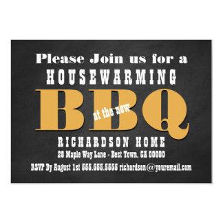 Chalkboard Housewarming BBQ with Gold A01 Card