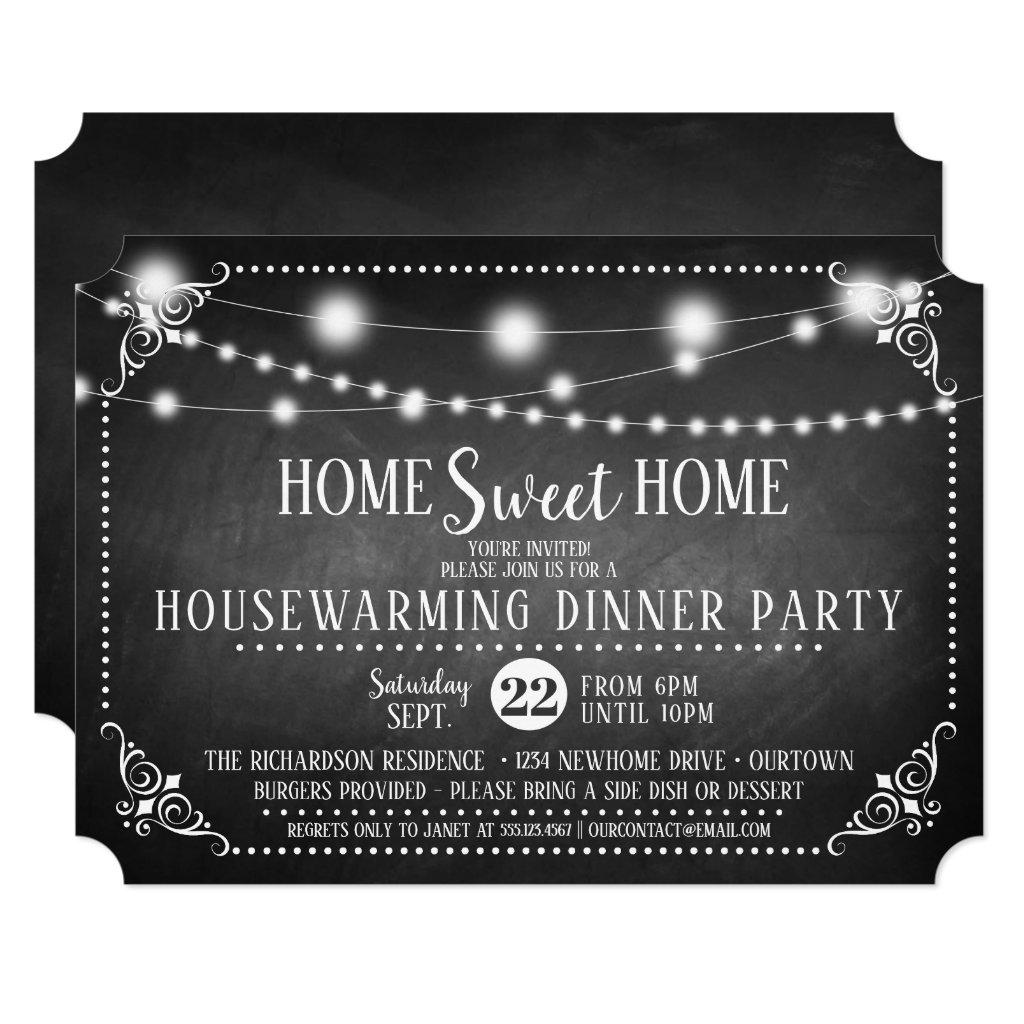 Chalkboard Housewarming Dinner Party Invitation