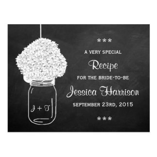 Chalkboard Hydrangea Mason Jar Bridal Recipe Cards