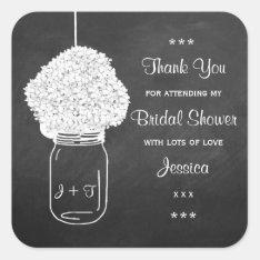 Chalkboard Hydrangea Mason Jar Bridal Shower Square Sticker at Zazzle