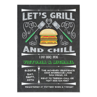 Chalkboard I Do barbecue BBQ engagement party Card
