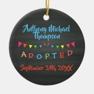 Chalkboard I was Adopted -Banners Custom Name-Date Ceramic Ornament