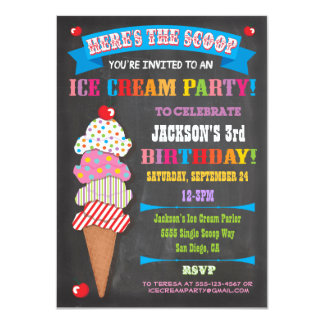 Chalkboard Ice Cream Party Invitation Custom Invites