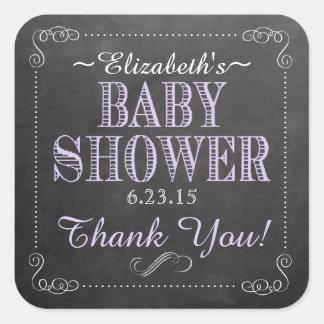 Chalkboard Image Baby Shower Purple Square Sticker