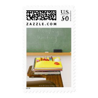 Chalkboard in classroom postage