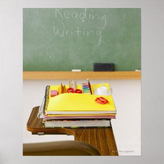 Chalkboard in classroom print
