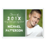 Chalkboard in Green Bold Guy Graduation Party 5x7 Paper Invitation Card