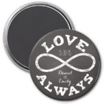 Chalkboard Infinity Love Wedding Date and Names 3 Inch Round Magnet