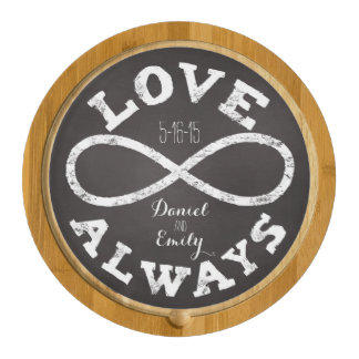 Chalkboard Infinity Love Wedding Date and Names Cheese Platter