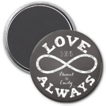 Chalkboard Infinity Love Wedding Date and Names Magnet