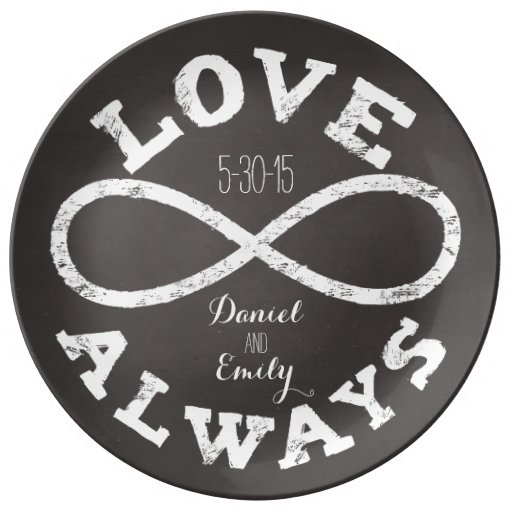 Chalkboard Infinity Love Wedding Date and Names Porcelain Plates