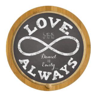 Chalkboard Infinity Love Wedding Date and Names Round Cheeseboard