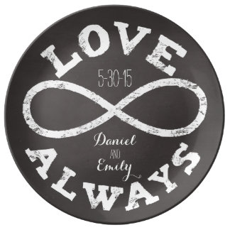 Chalkboard Infinity Love Wedding Date and Names Porcelain Plate