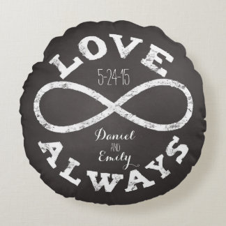 Chalkboard Infinity Love Wedding Date and Names Round Pillow