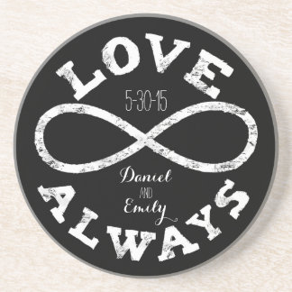 Chalkboard Infinity Love Wedding Date and Names Sandstone Coaster