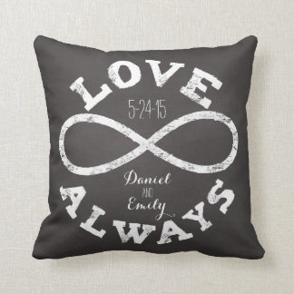 Chalkboard Infinity Love Wedding Date and Names Throw Pillow
