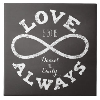 Chalkboard Infinity Love Wedding Date and Names Large Square Tile