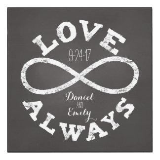 Chalkboard Infinity Love Wedding Date and Names Wood Print