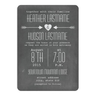 Chalkboard Inspired Arrows + Heart Rustic White 5x7 Paper Invitation Card