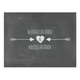 Chalkboard Inspired Arrows Save The Date - White Postcard