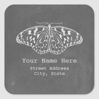 Chalkboard Inspired Butterfly Address Sticker