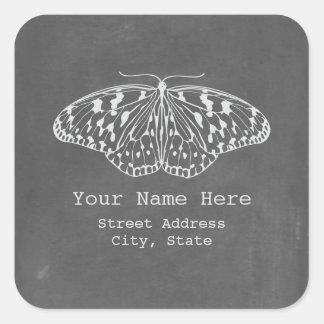 Chalkboard Inspired Butterfly Address Sticker