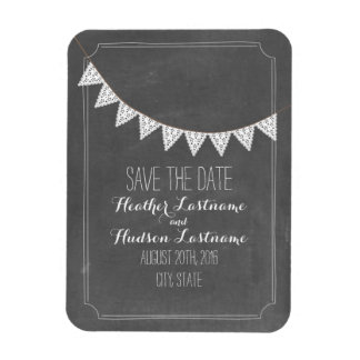 Chalkboard Inspired Eyelet Bunting Save The Date Magnet