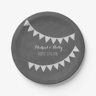 Chalkboard Inspired Eyelet Bunting Wedding Paper Plate