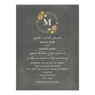 Chalkboard Inspired Fall Wreath Monogram Wedding Card